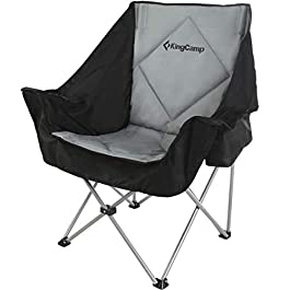 KingCamp Oversize Camping Folding Sofa Chair Padded Seat with Cooler Bag and Armrest Cup Holder, Black&Dark Gray