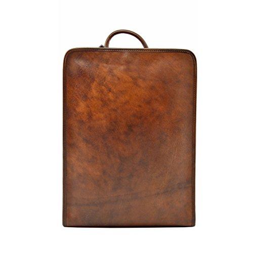 Echter Leder Rucksack Mit Gepolsterten Riemen Farbe Braun - Italienische Lederwaren - Rucksack