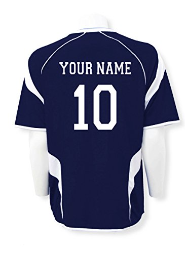 USA Soccer Jersey - customized with name, number - color navy/white - size Adult M