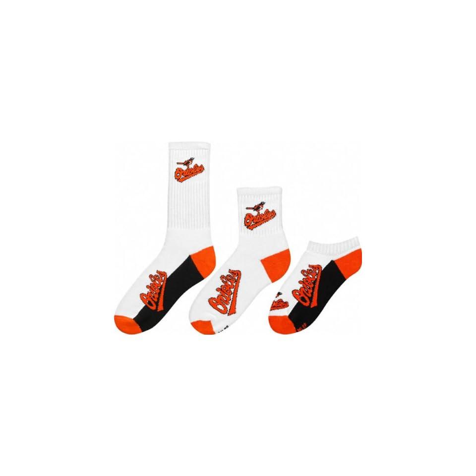 Baltimore Orioles Mens 3 Pair Sock Pack