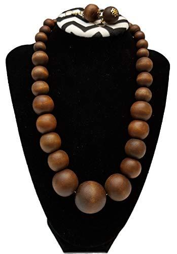 BUNFIREs Chunky Solid Wooden Beaded Necklace Earring Handmade Set Jumbo Beads (Brown)