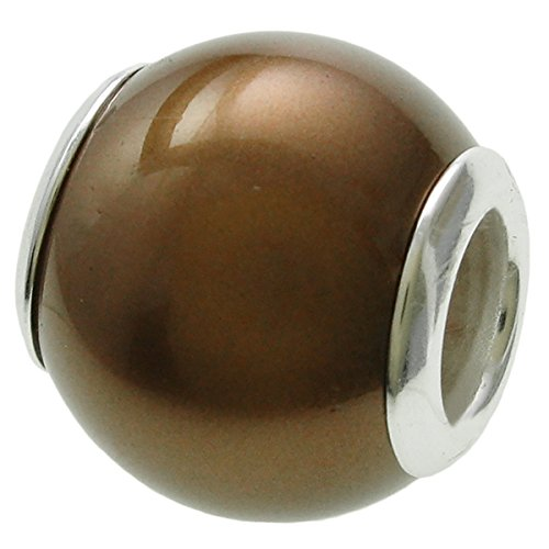 Simulated Pearl Charm - 925 Sterling Silver Round Brown Sea shell Simulated Pearl Bead For European Charm Bracelets