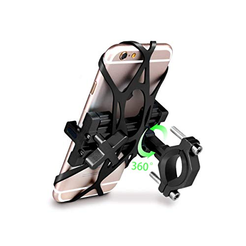 SpoLite Chrome Bike Phone Mount for Motorcycle-Bike-Bicycle Handlebars,Adjustable,Bike Phone Holder Fits Cell Phone iPhone X,8|8 Plus,7|7 Plus,6s|6s Plus,Galaxy S7,S6 for Cycling (Black-Rotation)