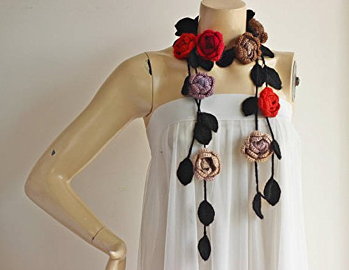 Handmade Rose Scarf-Red Lavender Taupe Roses with Seafoam Leaves