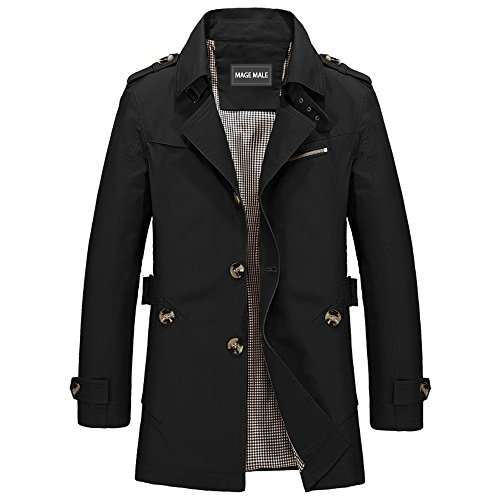 MAGE MALE Men Single Breasted Notch Lapel Jacket Windbreaker Slim Fit Cotton Lightweight Trench Coat Black X-Small