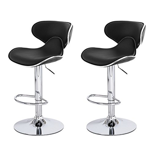 Joveco 360 Degree Swivel Adjustable Saddleback Design Bar Stool - Set of 2 (Black) Wholesale Price ()