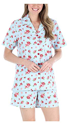 Sleepyheads Women's Sleepwear Cotton Short Sleeve Button-Up Top and Shorts Pajama Set (SHCP1710-5031-LRG)