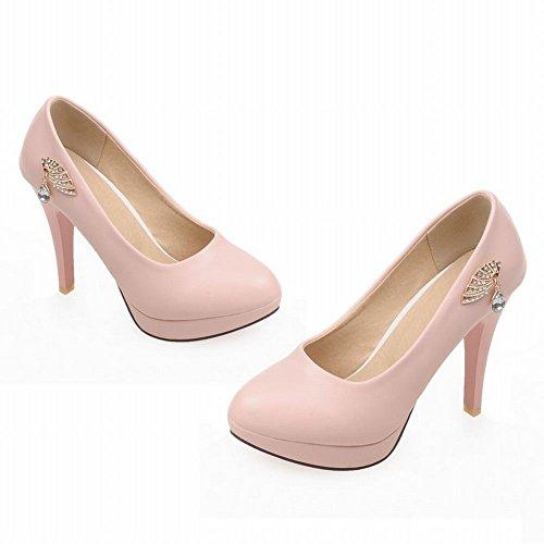 Mee Shoes Damen modern elegant runder toe mit Strass Metall-Dekoration Trichterabsatz Plateau Pumps Pink