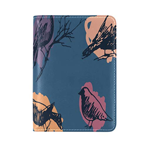 Passport Cover Case Pigeon Flying Animal Flower Retro Leather&microfiber Multi Purpose Print Passport Holder Travel Wallet For Women And Men 5.51x3.94 In (Smiley Lila)