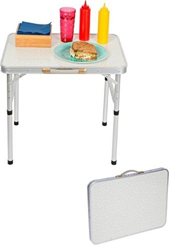 Trademark Innovations Aluminum Adjustable Portable Folding Camp Table With Carry Handle - By Trademark Innovations
