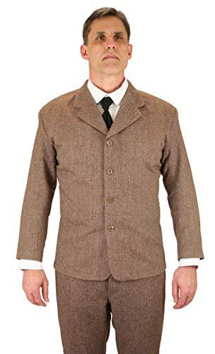- Historical Emporium Men's Herringbon Tweed Sack Coat 38 Brown
