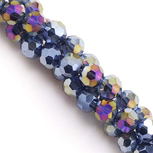 Crystal Beads Round Faceted Chinese (Calvas 6/8mm Faceted Glass Round Ball AB Crystal Rondelle Beads Chinese Beading DIY Mkaing Accessories Craft in Bulk Wholesale - (Color: CymbidiumAB, Item Diameter: 8mm 70pcs))