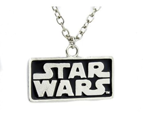 Star Wars Text Logo Necklace Pendant Silver Metal