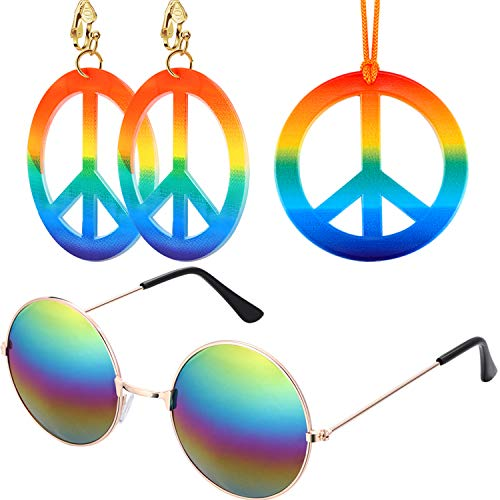 Total 3 Pieces Hippie Dressing Accessory Set 1 Piece Rainbow Peace Sign Necklace,1 Pair of Peace Sign Earrings and 1 Piece Hippie Glasses 1960's Hippie Accessories for Women Men]()