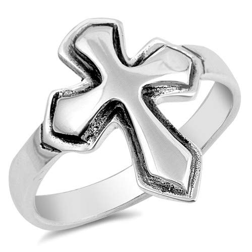 Glitzs Jewels 925 Sterling Silver Ring Cute Jewelry Gift for Women in Gift Box Cross