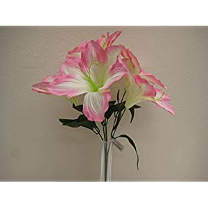 JumpingLight 6 Bushes Pink Amaryllis 6 Artificial Silk Flowers 16'' Bouquet 647PK Artificial Flowers Wedding Party Centerpieces Arrangements Bouquets Supplies 15