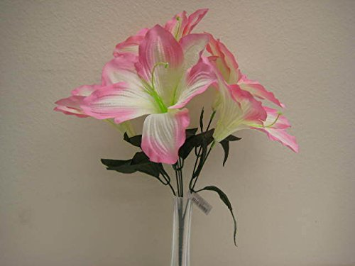 6 Bushes PINK Amaryllis 6 Artificial Silk Decoration Flowers Artificial Arrangement 16