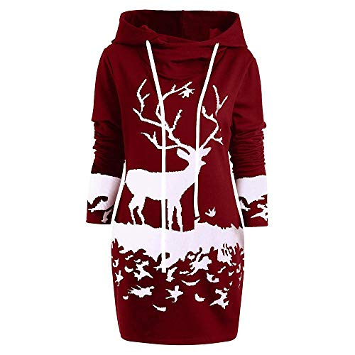 HGWXX7 Womens Christmas Casual Reindeer Printed Hooded Drawstring Mini Dress Sweatshirt Dress(L,Red) ()