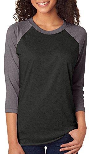 Next Level Unisex 3/4-Sleeve Raglan T-Shirt, Premium HTHR/Vintage Blk, X-Large