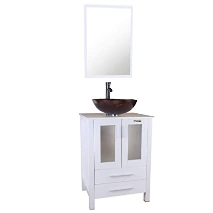 U Eway 24 White Bathroom Vanity Tempered Glasses Vessel Sink