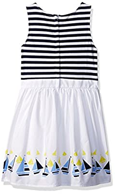 Nautica Girls' Striped Dress with Printed Poplin Skirt