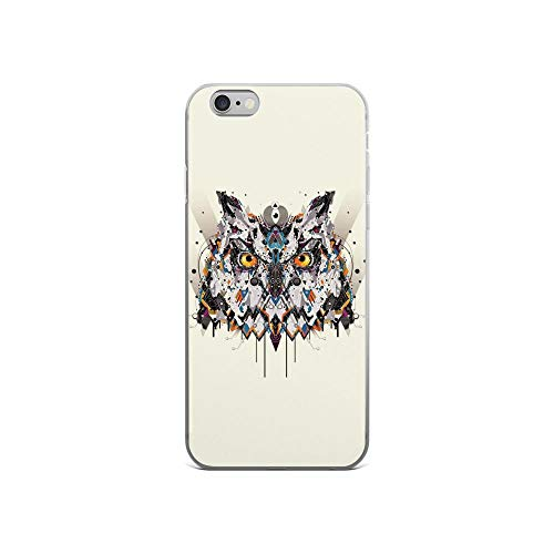 (iPhone 6/6s Pure Clear Case Cases Cover Electro Owl Portrait Abstract Painting)