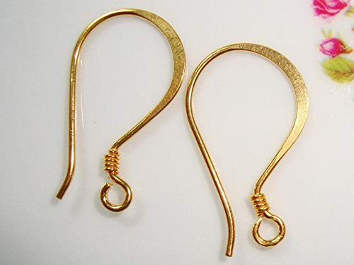 (23x13mm, Bulk 10 pcs, 20 Gauge, Handmade Gold Vermeil Over Sterling Silver Hammered Coiled French Hook Ear Wire, EW-0019 )