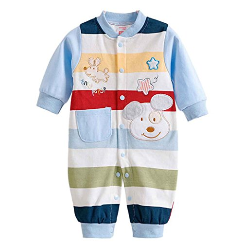 - Happy Cherry Baby Cotton Footless Romper Newborn Pajamas Fleece Bodysuit Snug Fit Sleepwear Snap Up Winter Layette Coveralls Sleep & Play Outfit Jumpsuit Stripes Dogs 9-12Months/80cm