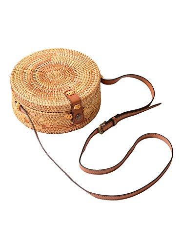 PORALA Round Woven Ata Rattan Bag Summer Beach Purse Straw Bali Bag Crossbody Shoulder Bag, Handwoven -