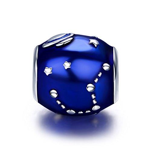 Blue Moon Sterling Silver Beads - Everbling Galaxy Star & Moon Blue Enamel 925 Sterling Silver Bead For European Charm Bracelet