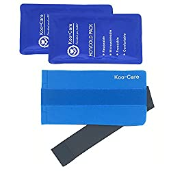 Koo-care 2 Flexible Gel Ice Pack & 1 Wrap With Elastic Strap For Hot Cold Therapy, 11-inch-by-5.9-inch (Standard)