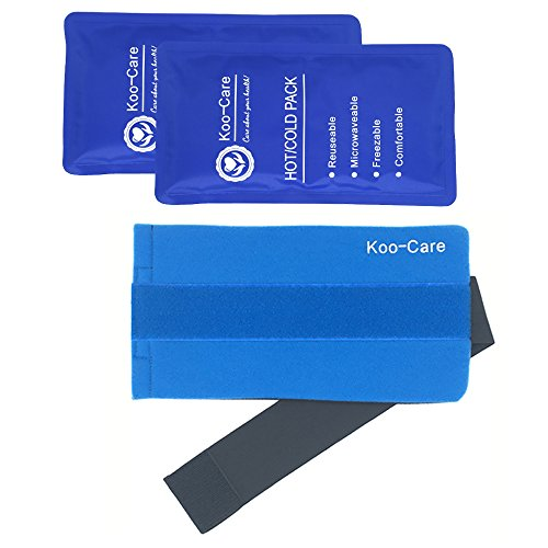 Koo-Care 2 Flexible Gel Ice Pack and 1 Wrap with Elastic Velcro Strap for Hot / Cold Therapy, 11-Inch-by-5.9-Inch (Standard)