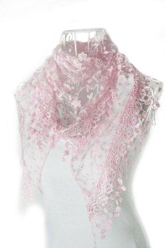 Sothread Fashion Women Lace Tassel Sheer Floral Print Triangle Mantilla Scarf Shawl (1950s Sheer)