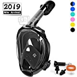 OUSPT Full Face Snorkel Mask, Snorkeling Mask with Detachable Camera Mount, Seaview 180° Upgraded Dive Mask with Newest Breathing System, Dry Top Set Anti-Fog Anti-Leak for Adult Youth