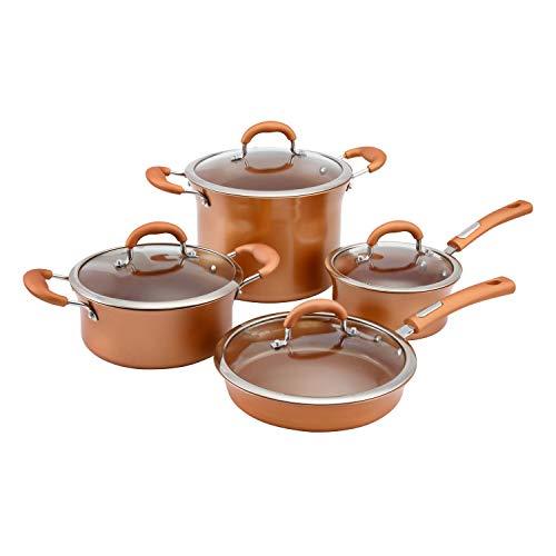 Hamilton Beach HBE601 Cookware Set, Aluminum, 8 PC, Copper