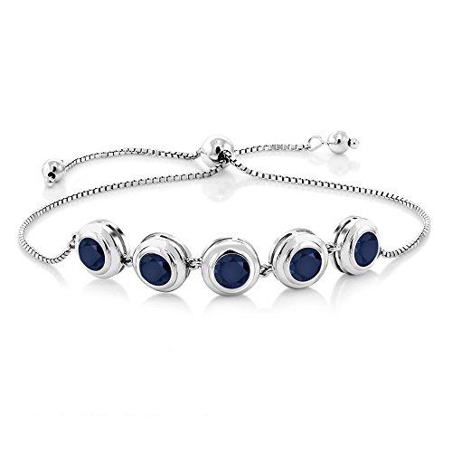 Blue Sapphire 925 Sterling Silver Bracelet 5.00 Ct Round Cut Gemstone Birthstone by Gem Stone King
