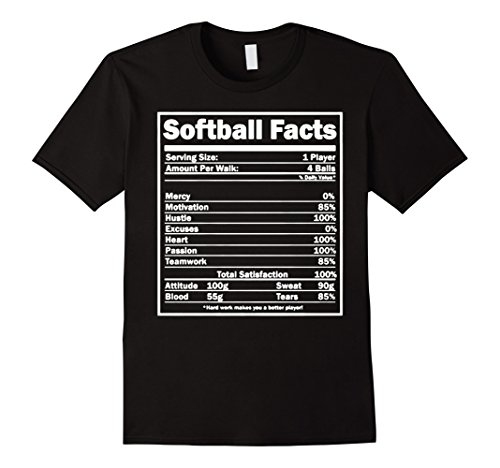 Mens Softball T-shirt - Softball Facts Shirt 2XL Black