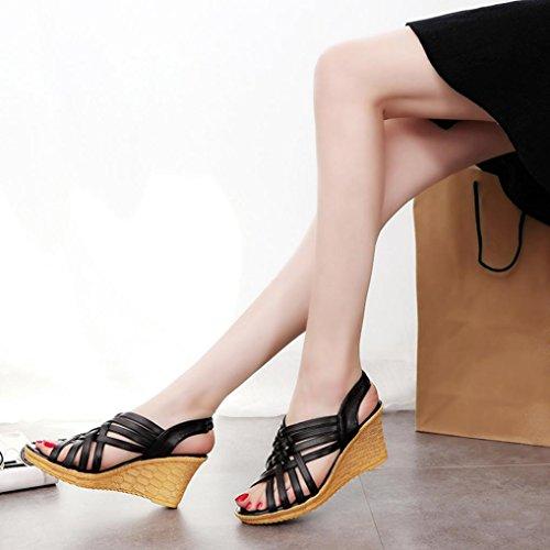 Ouneed ® Moda mujer altas plataformas patrón correa Gladiator sandalias Negro