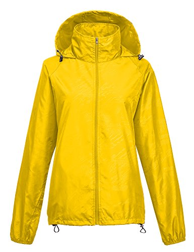 Leajoy Women's Packable Lightweight Rainwear Active Hoodie Cycling Running Windbreaker Jacket - Yellow L