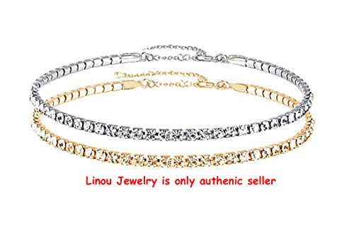 Eoumy 2pcs Crystal Choker Necklace Girls Clear Crystal Women Rhinestone Chain Gift Jewelry