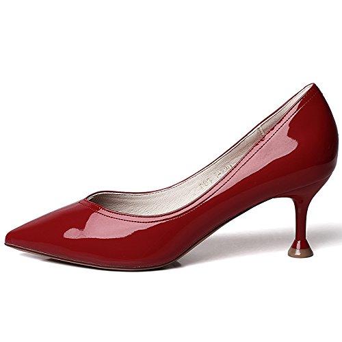 YMFIE Moda Simple Primavera y el Estilete del Verano Sexy Puntiagudo Zapatos Solos Zapatos de tacón Zapatos de Fiesta Zapatos de Trabajo Red wine