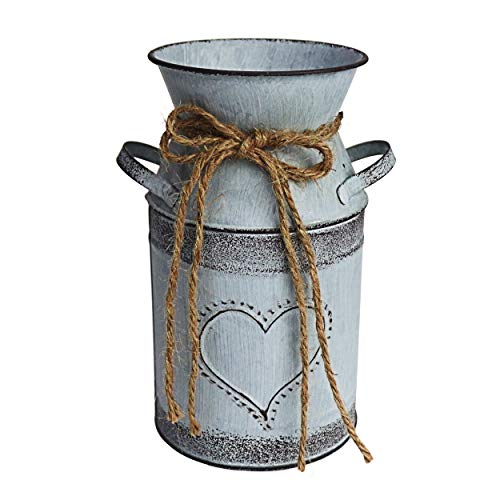 MISIXILE Rustic Metal Flower Vase, Shabby Chic Vintage Farmhouse Jug Vase, Galvanized Milk Can Holder for Home Decor (For Flowers Jugs Metal)