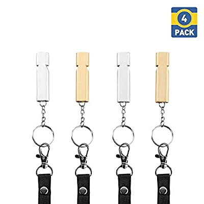 MUIIGOOD 4 Pack Emergency Whistles High Pitch Double Tubes Survival Lifeguard Whistle Lanyard Keychain Outdoor Hiking Camping Boating Fishing Hunting