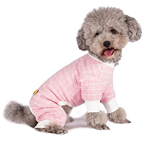 kyeese Dog Pajamas Large Dogs Pjs Onesie Lightweight 4 Legs Jumpsuit Check Pattern for Fall Winter Pet Apparel