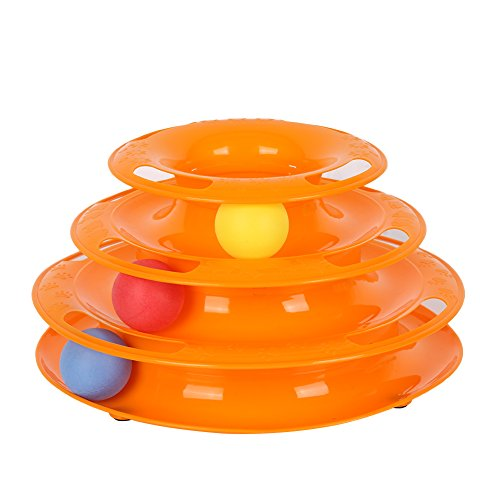 Pet Interactive Toys Intelligence Triple Tower of Tracks Play Disc Balls 250g by KAYI
