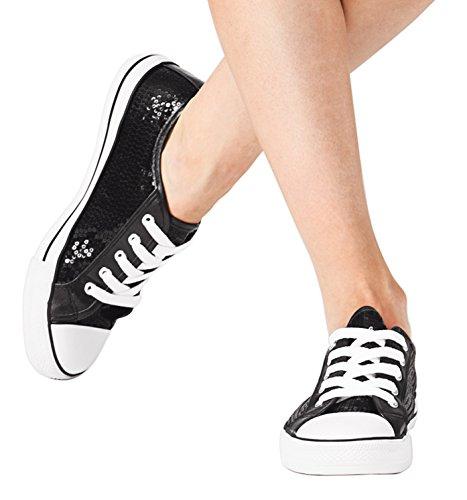 Volwassen Pailletten Sneaker, Chux Zwart