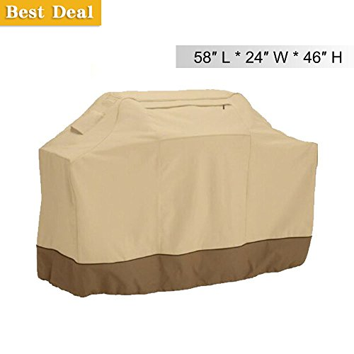 Gas Grill Cover, 58-Inch BBQ Cover Waterproof, 600D Heavy Duty Gas Grill Cover Water Proof, Design for Weber, Holland, Jenn Air, Brinkmann and Char Broil
