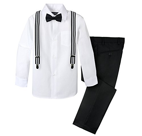 Spring Notion Boys' 4-Piece Suspender Outfit 08 Black/Stripes Black White