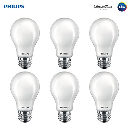 Philips LED Classic Glass Non-Dimmable A19 Light Bulb: 800-Lumen, 2700-Kelvin, 7-Watt (60-Watt Equivalent), E26 Base, Soft White, Frosted, 6-Pack