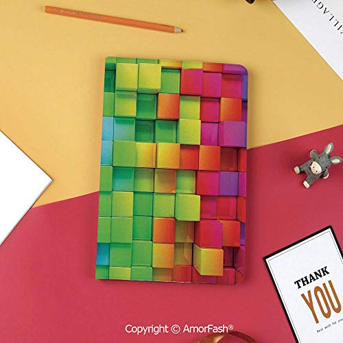 Case for Samsung Galaxy T820 T825 Slim Folding Stand Cover PU Tab S3 9.7,Colorful Home Decor,Rainbow Color Contour Display Futuristic Block Brick Like Geometric Artisan,Multi